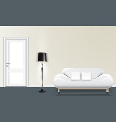 White wall background with a floor lamp and white vector