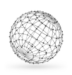 Wireframe polygonal geometric element Sphere with vector