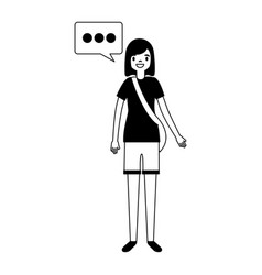 woman character with speech bubble vector image