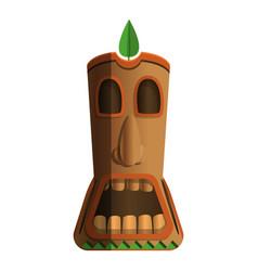 Wood totem idol icon cartoon style vector