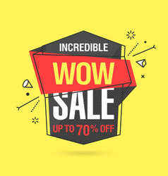 Wow sale banner template in flat trendy memphis vector