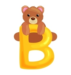 bear letter with animal for kids abc education in vector image vector image