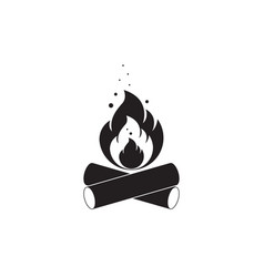 black and white icon of bonfire with firewood vector image