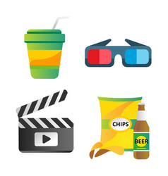 clapper board and cinema icons vector image vector image