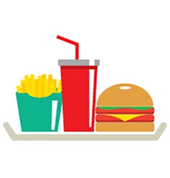 Hamburger French Fries And A Glass Of Cola In Tray vector image