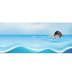Boy swimming alone in the pool vector image