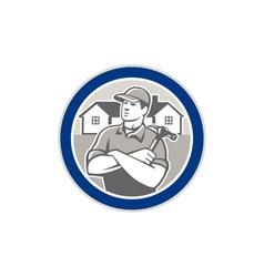 Builder Carpenter Hammer Houses Circle Retro vector image vector image