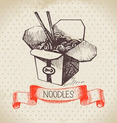 Hand drawn vintage Chinese noodles background vector image vector image