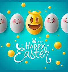 happy easter easter emoji eggs vector image