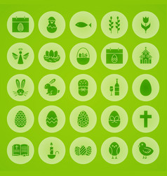 happy easter solid circle icons vector image