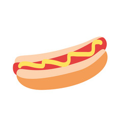 hot dog with yellow mustard graphic flat icon vector image