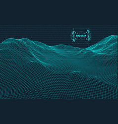 computer generated binary code landscape on black vector image