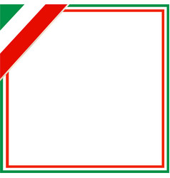 italian flag square frame vector image vector image