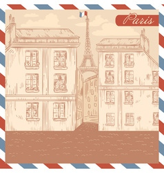 Retro-styled France postcard vector image vector image