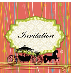 Vintage Carriage Invitation Card vector image vector image