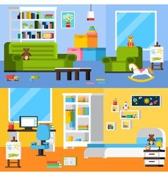 Baby Room Interiors Flat Horizontal Banners vector image vector image