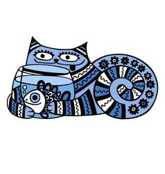 cat with aquarium vector image vector image