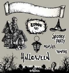 halloween banner and elements drawn Halloween sy vector image