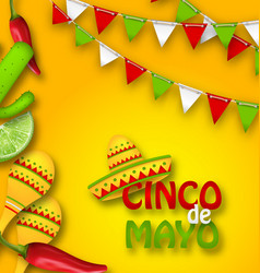 holiday celebration banner for cinco de mayo with vector image vector image
