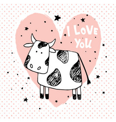 love cow vector image vector image