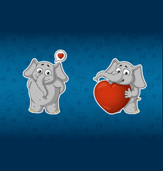 stickers he is in love he has a big heart vector image vector image