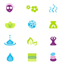 wellness spa and nature icons vector image