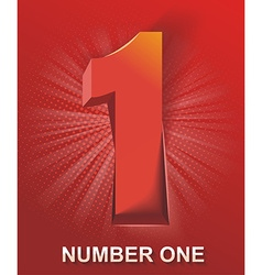 3d shiny number one on abstract backgroun vector image