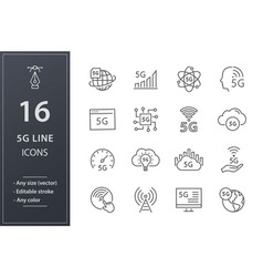 5g line icons set black vector