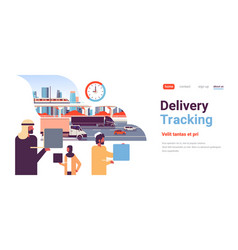 Arabic business people logistic delivery tracking vector