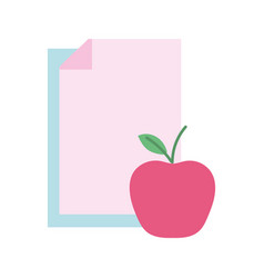 Back to school education papers and apple vector