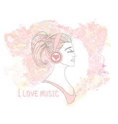 Beautiful young woman in headphones listening to vector