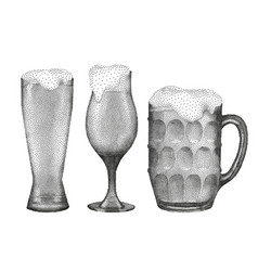 Beer glasses in stippling technique vector
