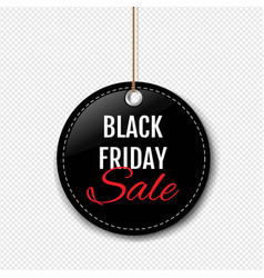 Black friday sale label with rope transparent vector