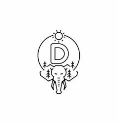 Black line art elephant head with d initial vector