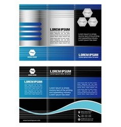 Blue tri-fold business brochure template design vector