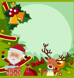 Border template with santa and reindeer vector