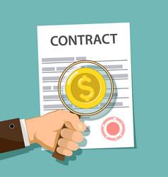 Businessman studies contract vector