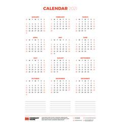Calendar for 2021 year week starts on sunday vector
