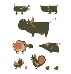 Cartoon funny farm animals vector image