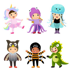 cartoon of cute kids in animal costumes set vector image