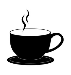 coffee cup on white background black vector image