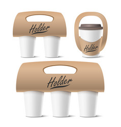 coffee cups holder set realistic mockup vector image