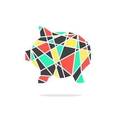 Colored broken piggy bank with shadow vector