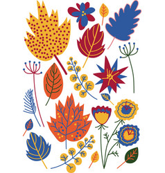 colorful autumn leaves flowers and berries vector image