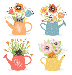 cute cats in garden watering cans with flowers vector image