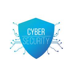 cyber security concept shield on circuit board vector image