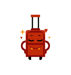 delighted happy suitcase cartoon character with vector image