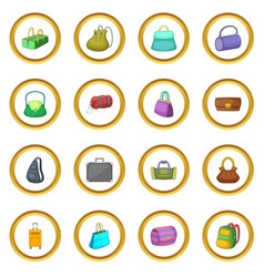 different bagage icons circle vector image