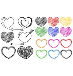 different doodle designs of heart shapes vector image