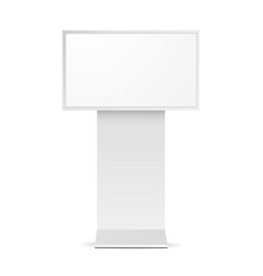 Digital signage monitor white mockup - front view vector
